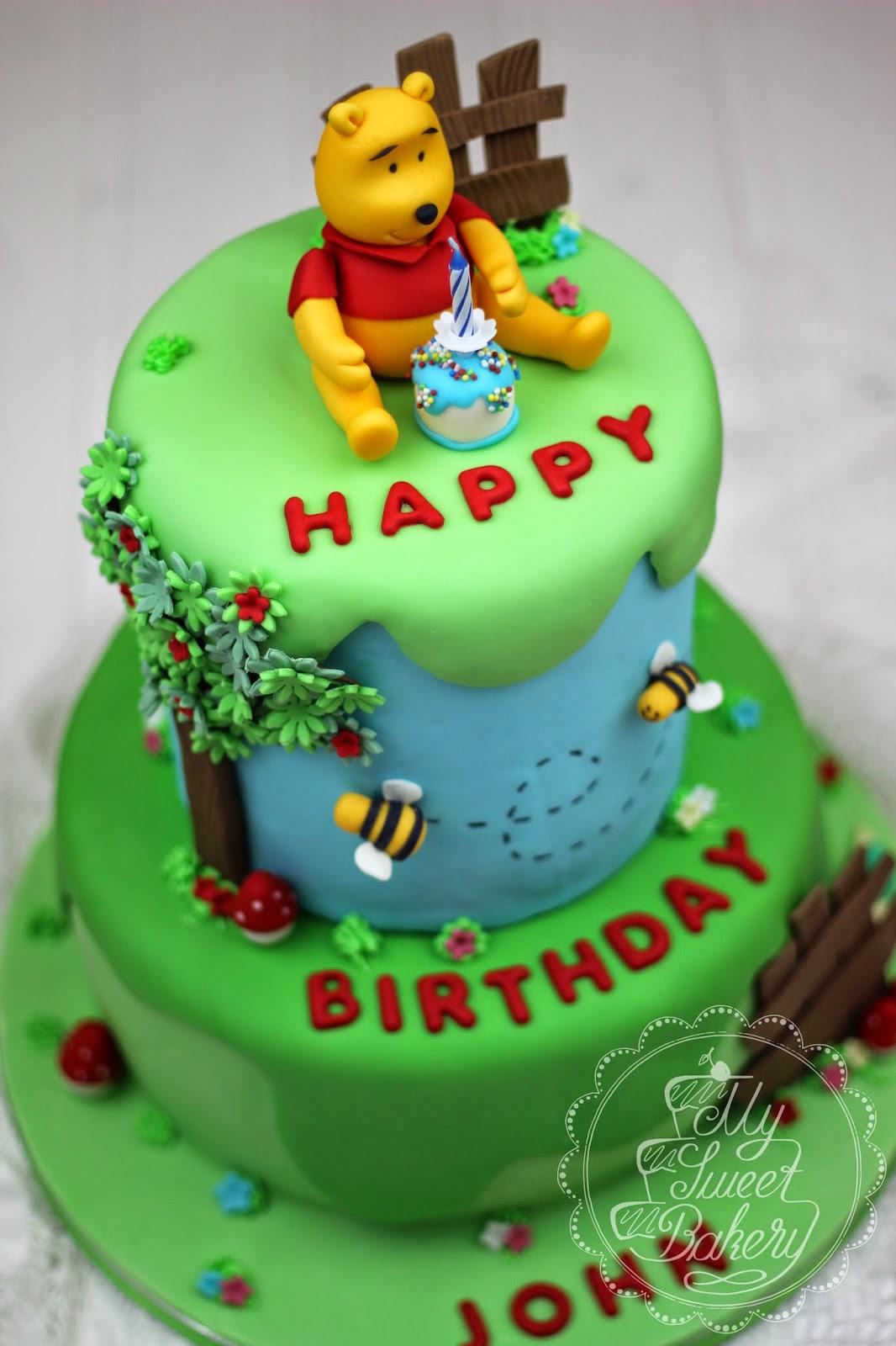 My sweet bakery winnie pooh torte 1st birthday cake for Winnie pooh kuchen deko