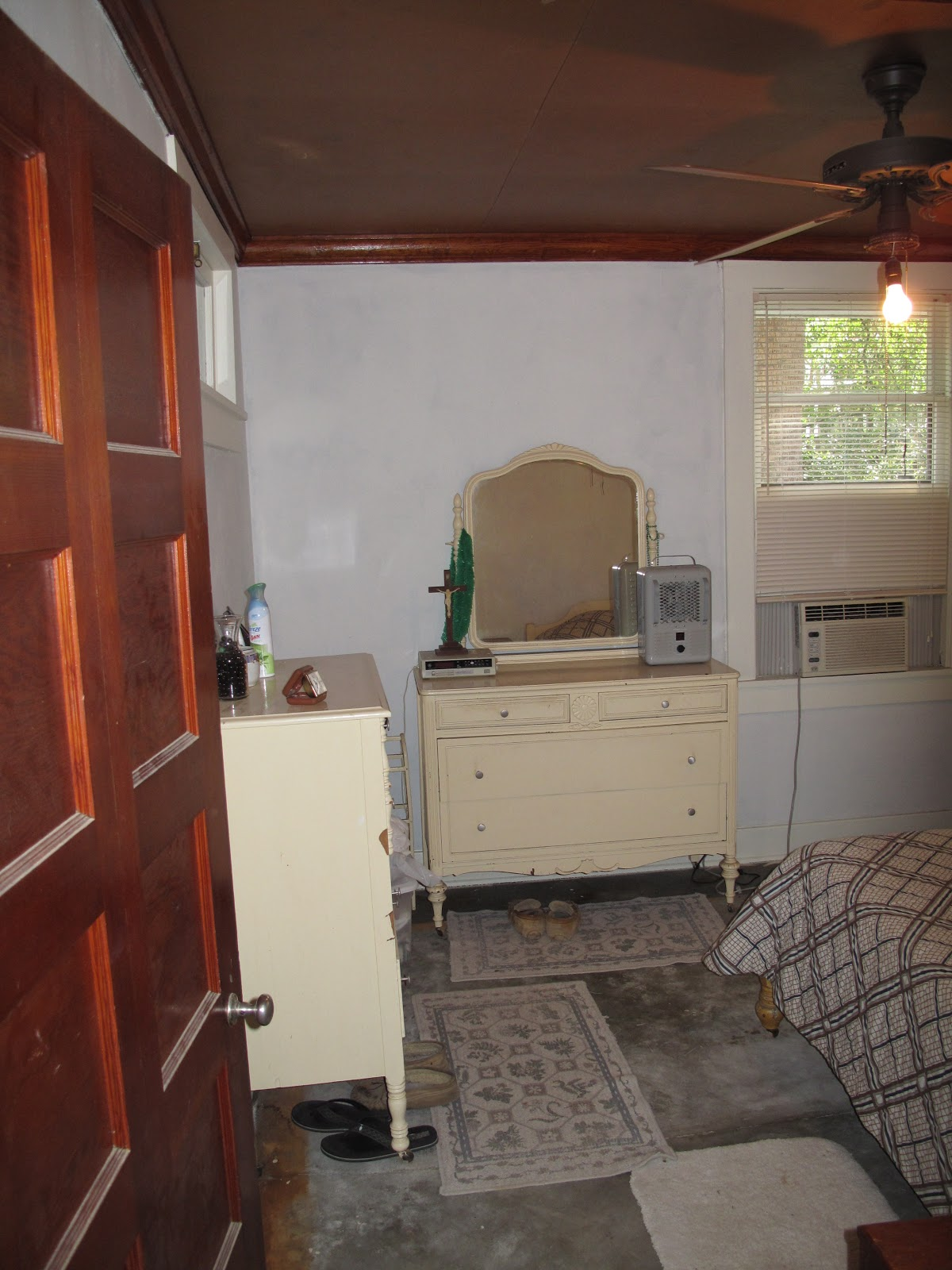 Very Vicky Coral Cottage Master Bedroom Redo Rewiring An Old House Plaster Walls The Furniture Was Saved And Given A Facelift With Paint After Room Cement Were Covered Drywall