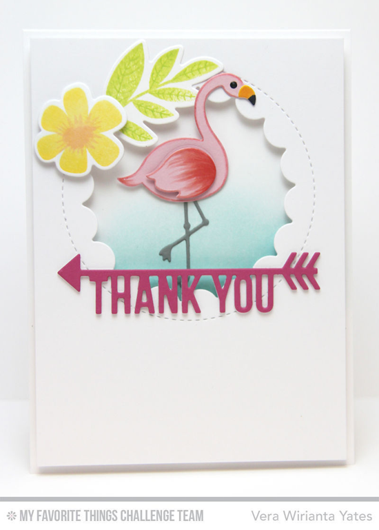 Tropical Thank You Card by Vera Wirianta Yates featuring the Modern Blooms stamp set and Die-namics, and the Arrow Greetings, Laina Lamb Designs Flamingos, and Lisa Johnson Designs Jumbo Peek-a-Boo Circle Windows Die-namics #mftstamps