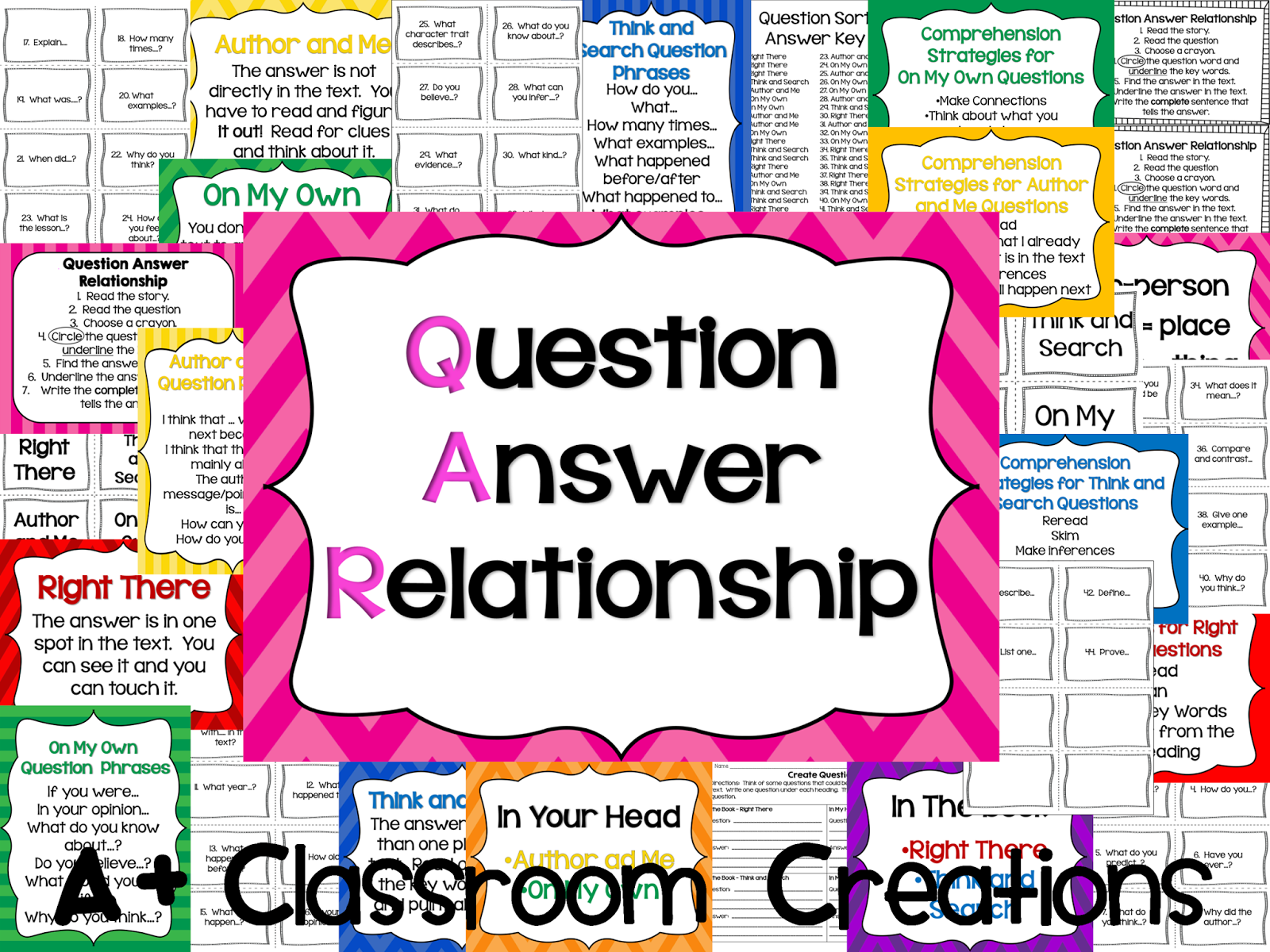 https://www.teacherspayteachers.com/Product/QAR-Question-Answer-Relationship-17-anchor-charts-bookmarks-question-sort-1045098