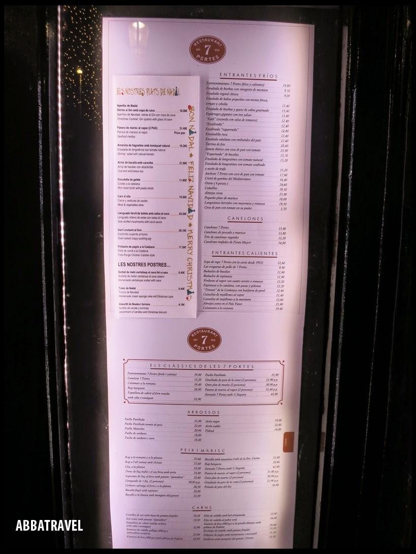 Abbatravel barcelona to eat 22dec2014 amorino for 7 portes barcelona menu