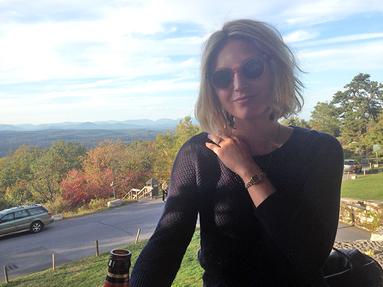 Happy Hour at Mohonk Mountain House, Ann Taylor knit, vintage Seiko watch, Raen Arkin Sunglasses