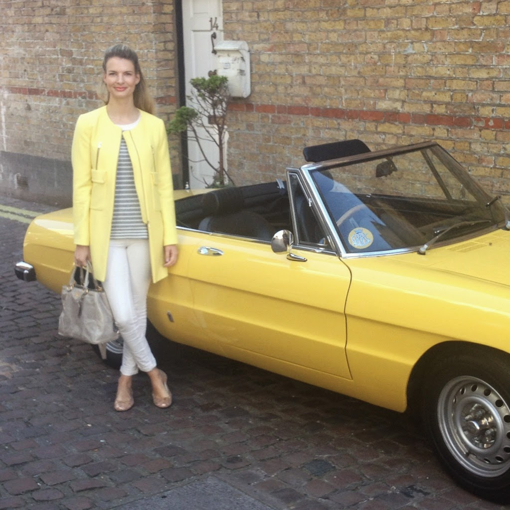 zara coat with pockets, yellow coat, yellow car, vintage car, yellow vintage car, prada bag, white jeans, j brand jeans, french sole, french sole ballet flats, striped jumper, gap jumper, street style, london street style