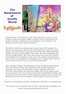 The Neckmanns of Giraffe World Exhibition by North East Artist Ingrid Sylvestre at University of Durham Botanic Garden featuring her characters the Neckmanns in their World Artwork and Stories by Ingrid Sylvestre UK Artist & Writer