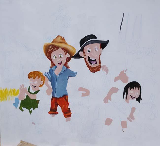 Proceso de pintura mural. Ropas
