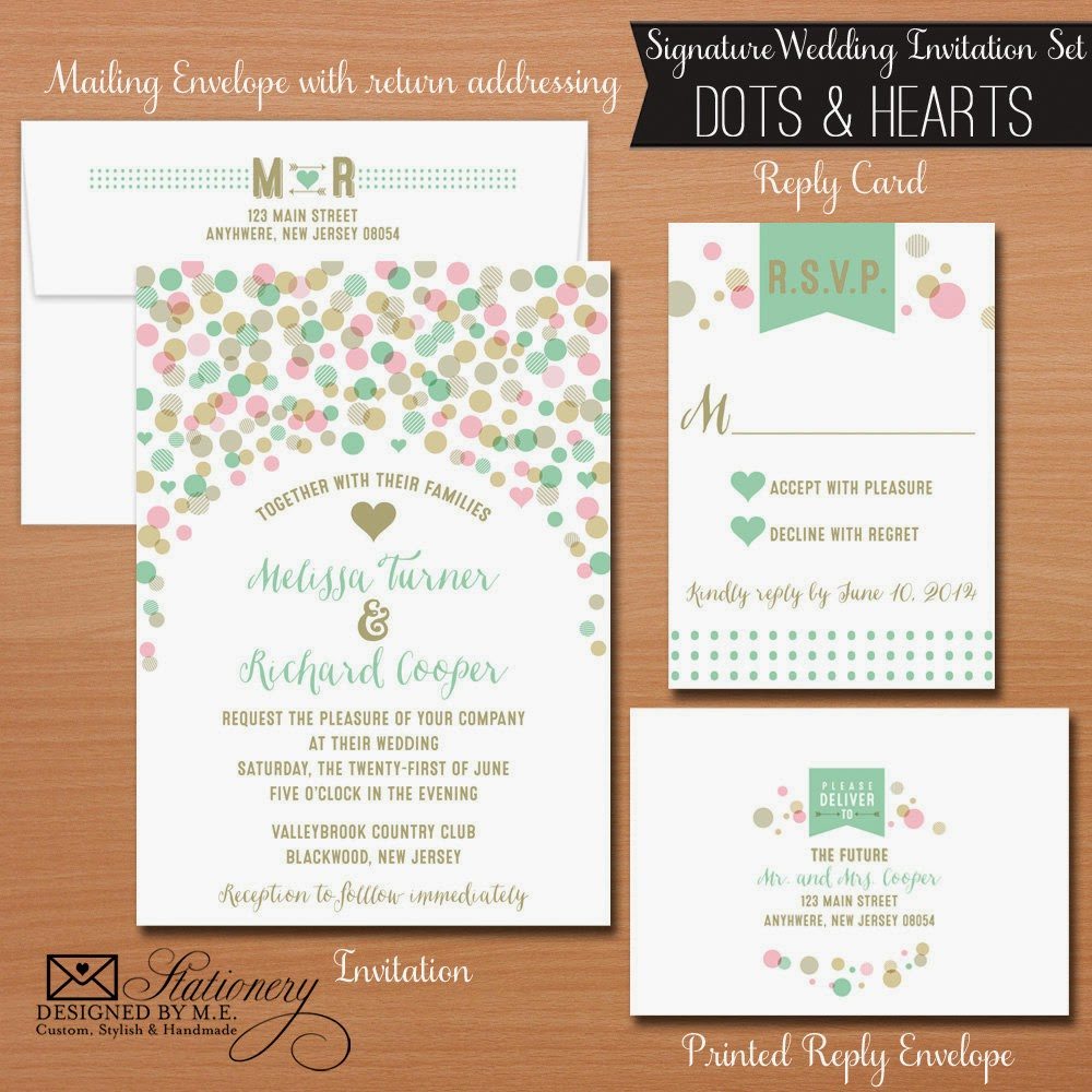 Customized Wedding Invitations - Whimsical Dots & Hearts