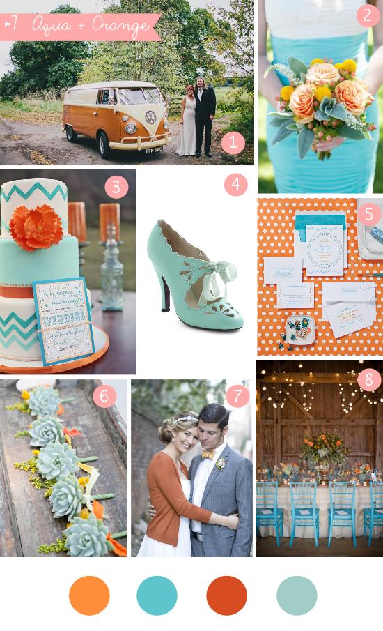 aqua orange wedding, summer wedding, wedding palette, inspiration board