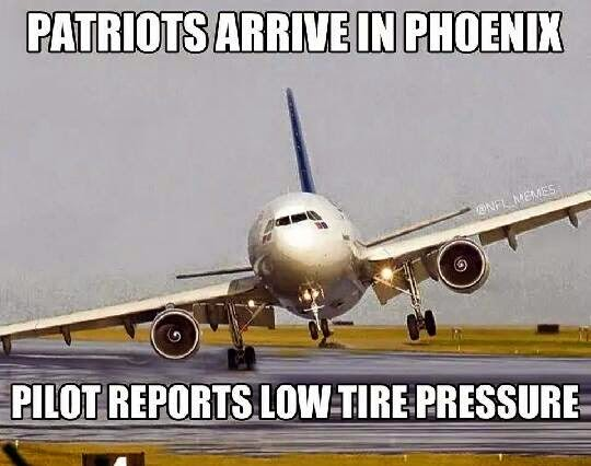 Patriots arrive in phoenix pilot reports low tire pressure