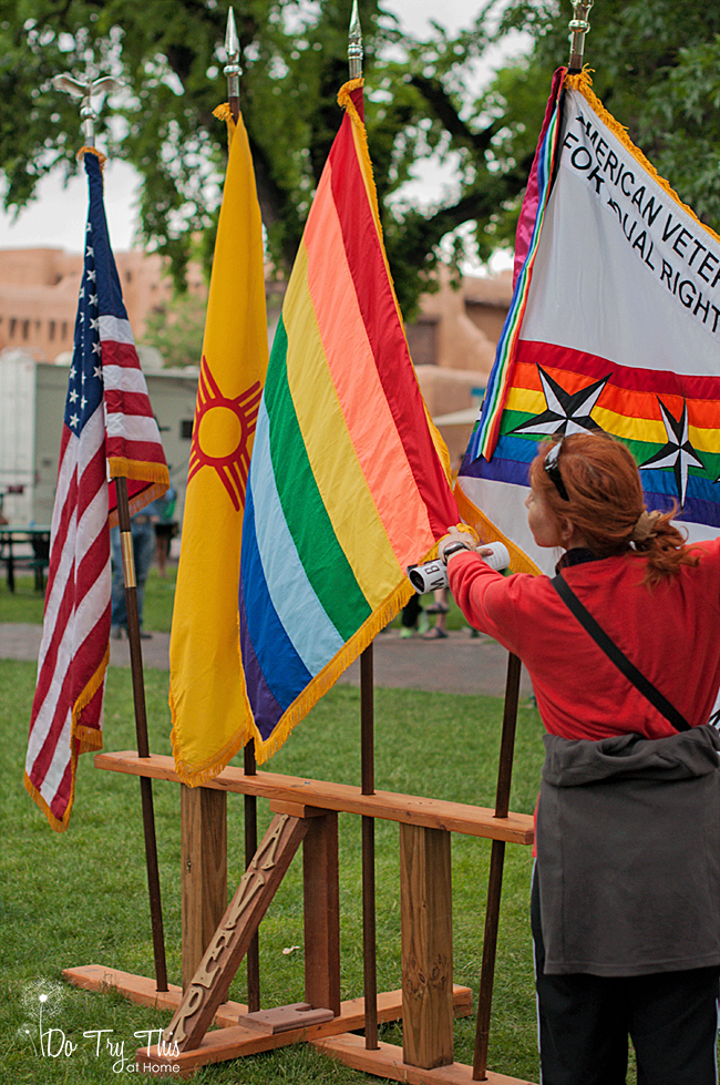 Flags at Pride on the Plaza in New Mexico
