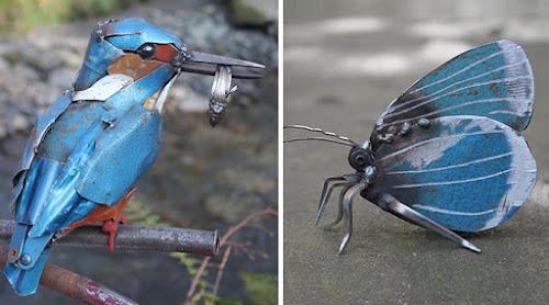 Artista transforma sucata em belas esculturas de animais