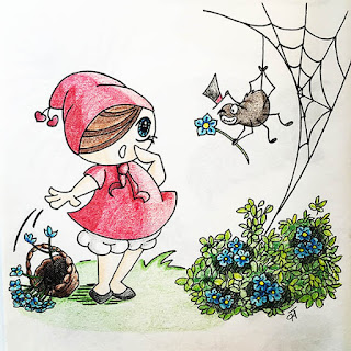Ink and colored pencil drawing of Little Red Riding Hood meeting a charming spider who offers her a blue flower