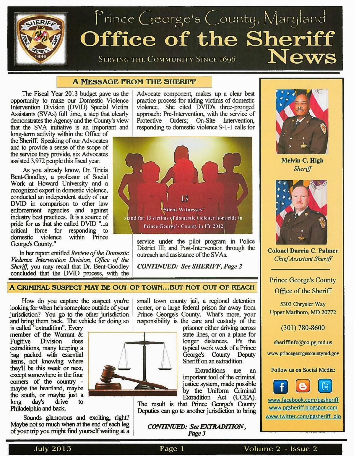 Sheriff's Summer Newsletter- July 2013