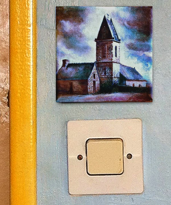 Acrylic Landscape for sale of a Normandy Church - Paintwalk