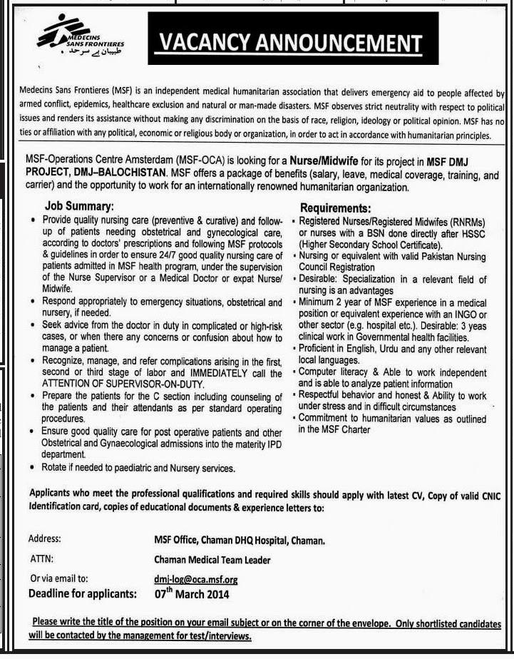 Jobs in Medecins Sans Frontieres, Quetta