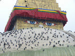 Stupa de Bodnath : le regard de Bouddha représente la conscience de chacun.