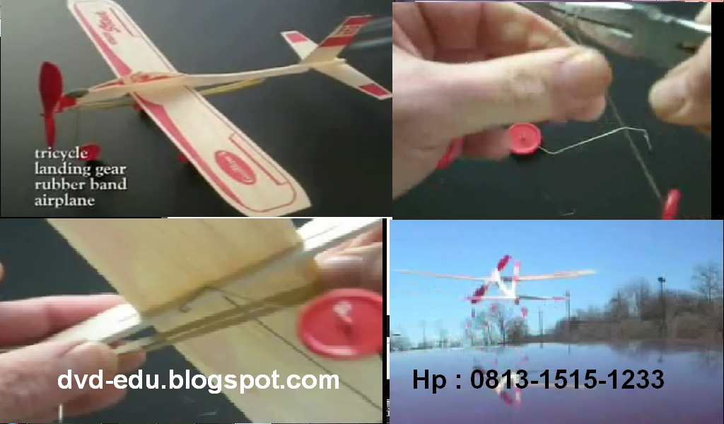 Pesawat dengan tenaga karet gelang ini sederhana namun tetap indah ...