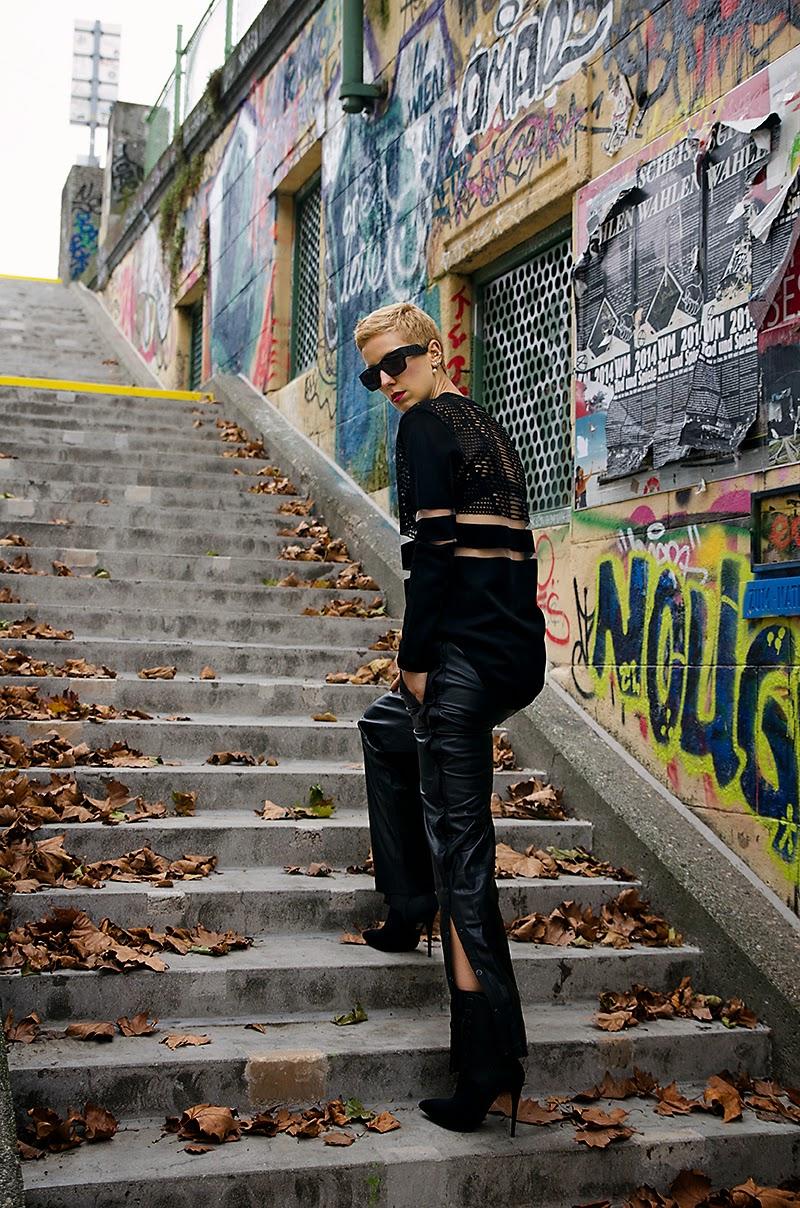 alexander wang x H&M leather tearaway pants beeswonderland