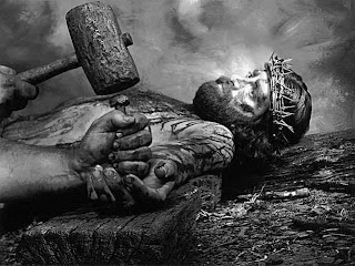 Crucifixion photo of Jesus Christ with crown of thorns,nails,hammer religious wallpaper
