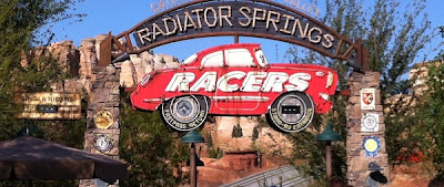 Radiator Springs Racers Single Rider entrance gate in Cars Land