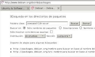 Página de búsqueda de paquetes Debian