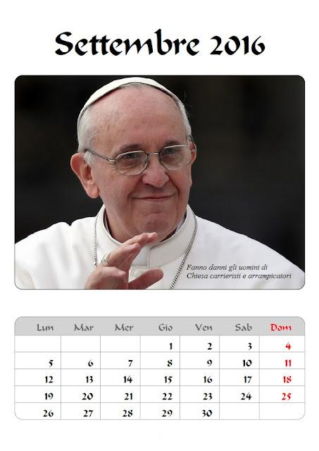 Calendario 2016 Papa Francesco - settembre - frasicelebri
