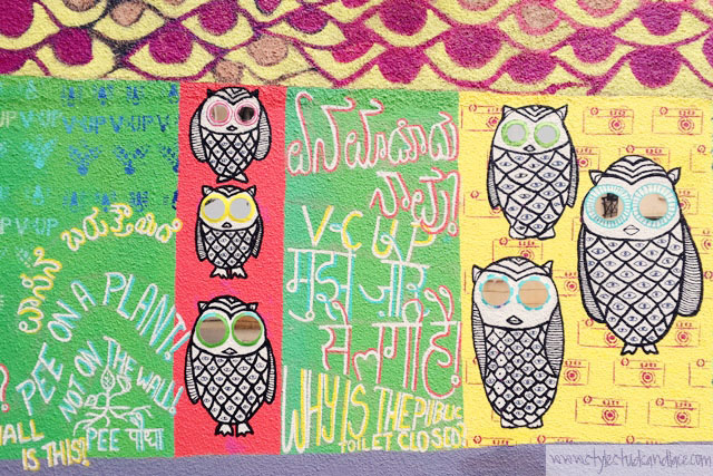 Owl and patterned street are by Srishti School of Art, Design and Technology