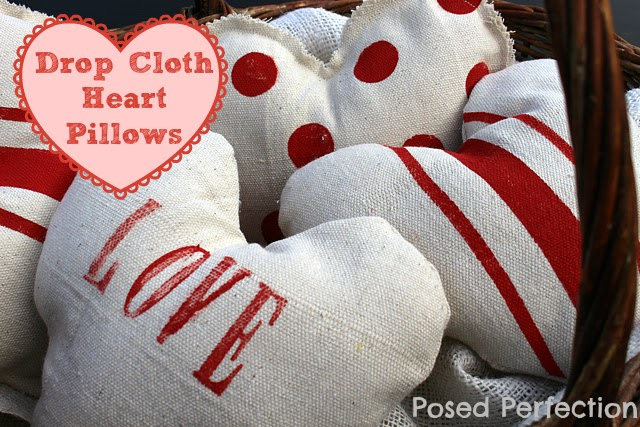 Got some leftover drop cloth scraps? Don't throw them away... whip up some of these adorable Drop Cloth Heart Pillows for some easy Valentine's decor!