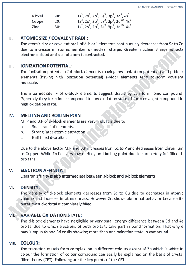 XII Chemistry Notes - D Block Elements