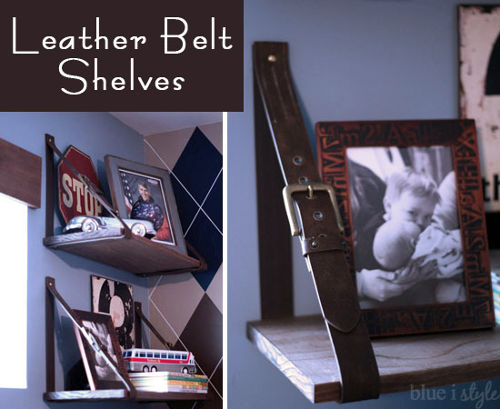 Leather hanging belt shelves