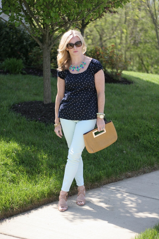 j.crew factory, Hudson jeans, Loft, Michael Kors, Prada, Stella Dot, CWonder, vineyard vines, Banana Republic, LosPhoto, Simply Lulu Style, mint jeans, polka dots, straw handbag, floral statement necklace,