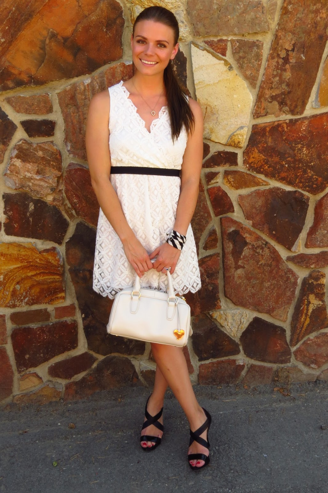White Lace Dress and Black Heels