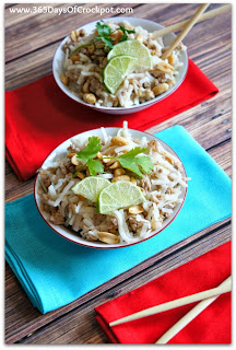 Recipe for Slow Cooker Easy Pad Thai with Turkey (or beef, chicken or whatever you want) #slowcooker #crockpotrecipe