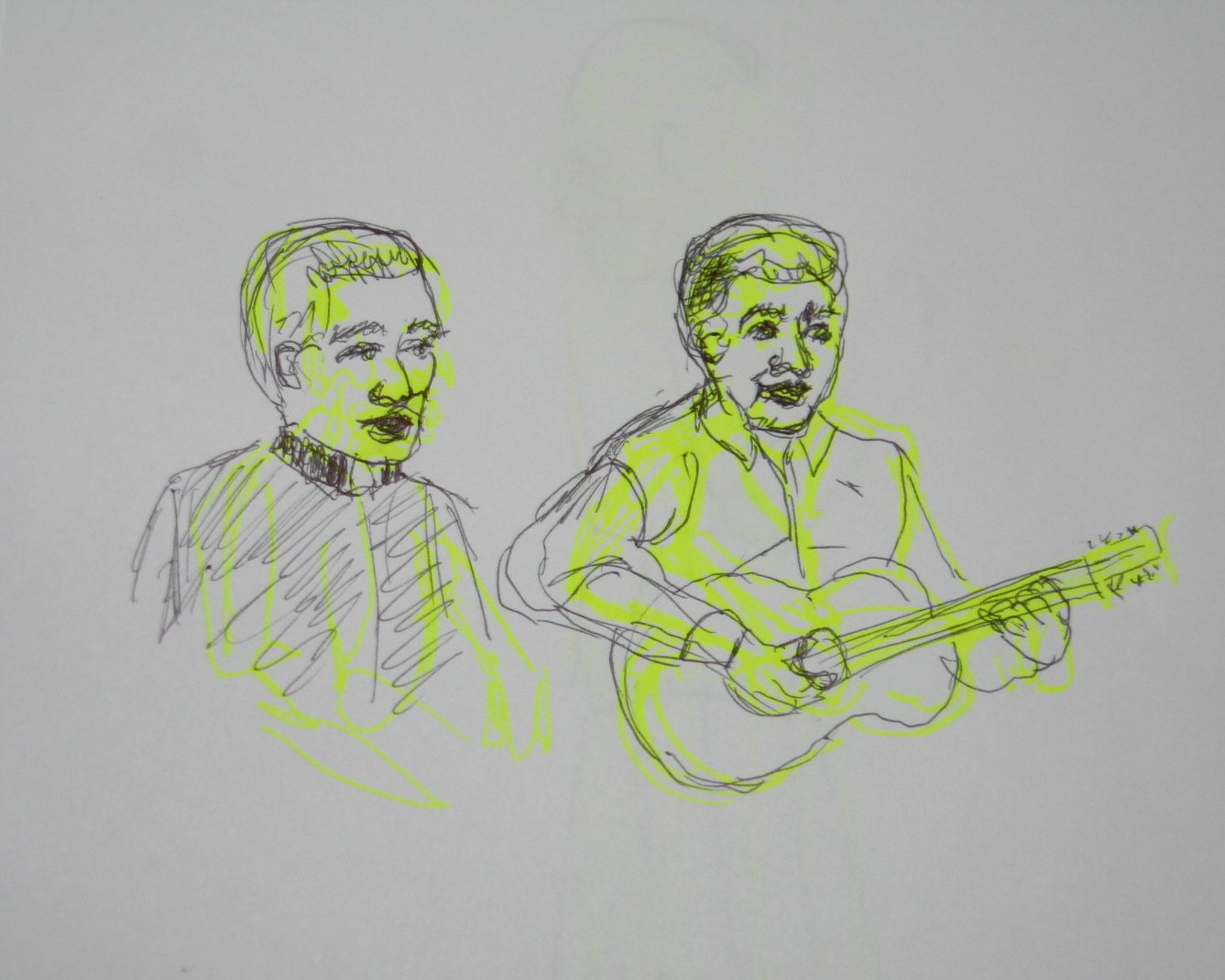 Quick sketch of guitarists (my contribution to the talent show)