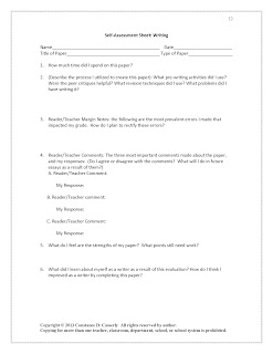 Middle and High School English Lesson Plans-Writing Self-Assessment Sheet