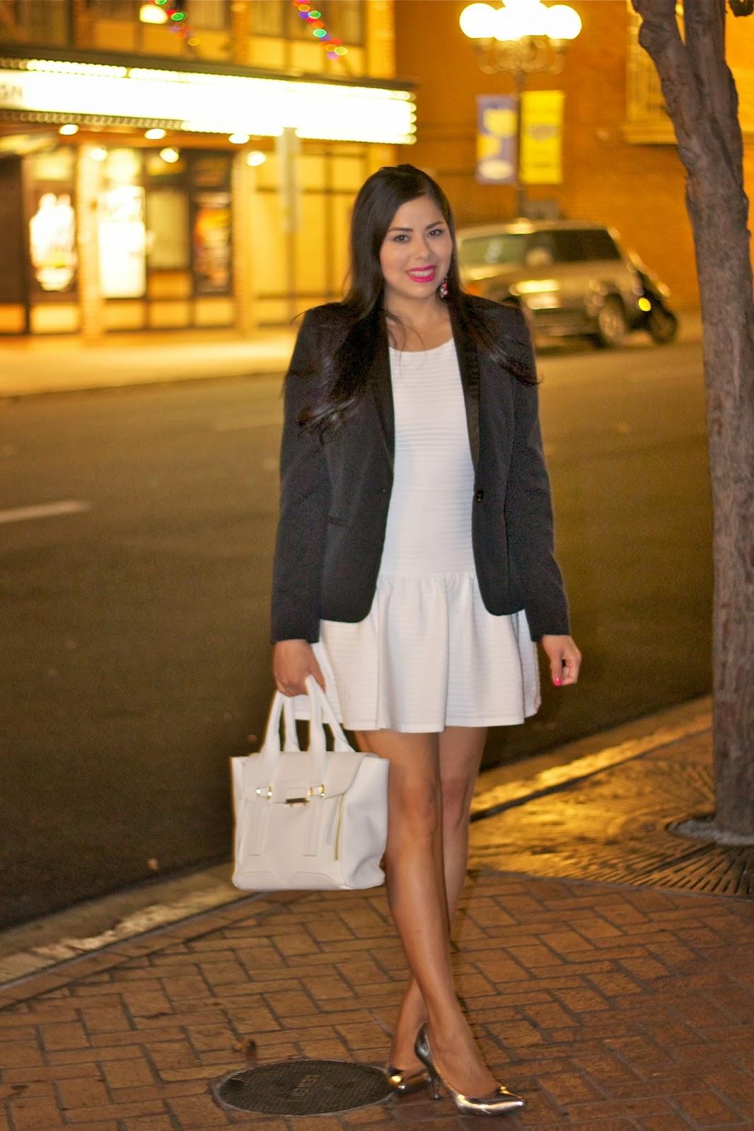 drop waist white dress