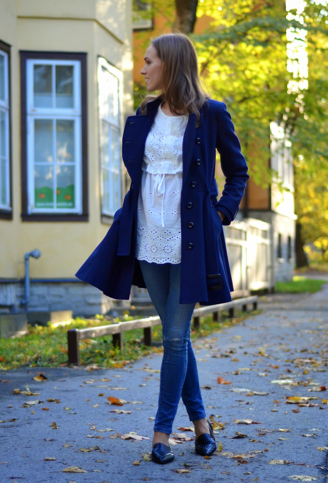 blue-outfit-mango-flats-zara-jeans-asos-coat