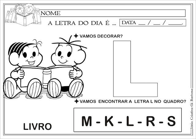 Atividade letra L Turma da Mônica