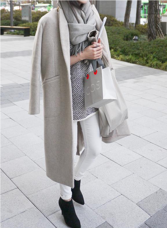 Grey Coat Brown Shoes Women