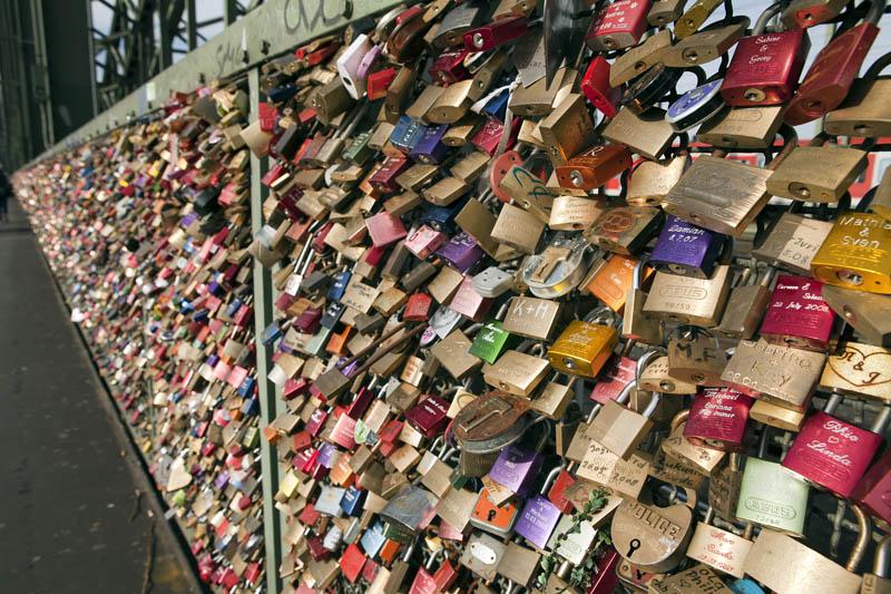 Love padlocks in Hohenzollern Bridge Cologne