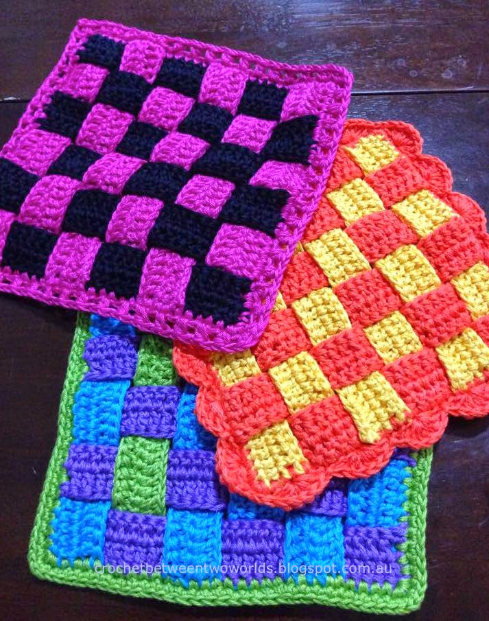 Crochet Patterns Hot Pads : Crochet between worlds: PATTERN: Woven Hot Pad / Trivet