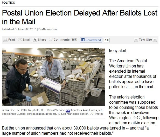 Postal Union election, lost ballots