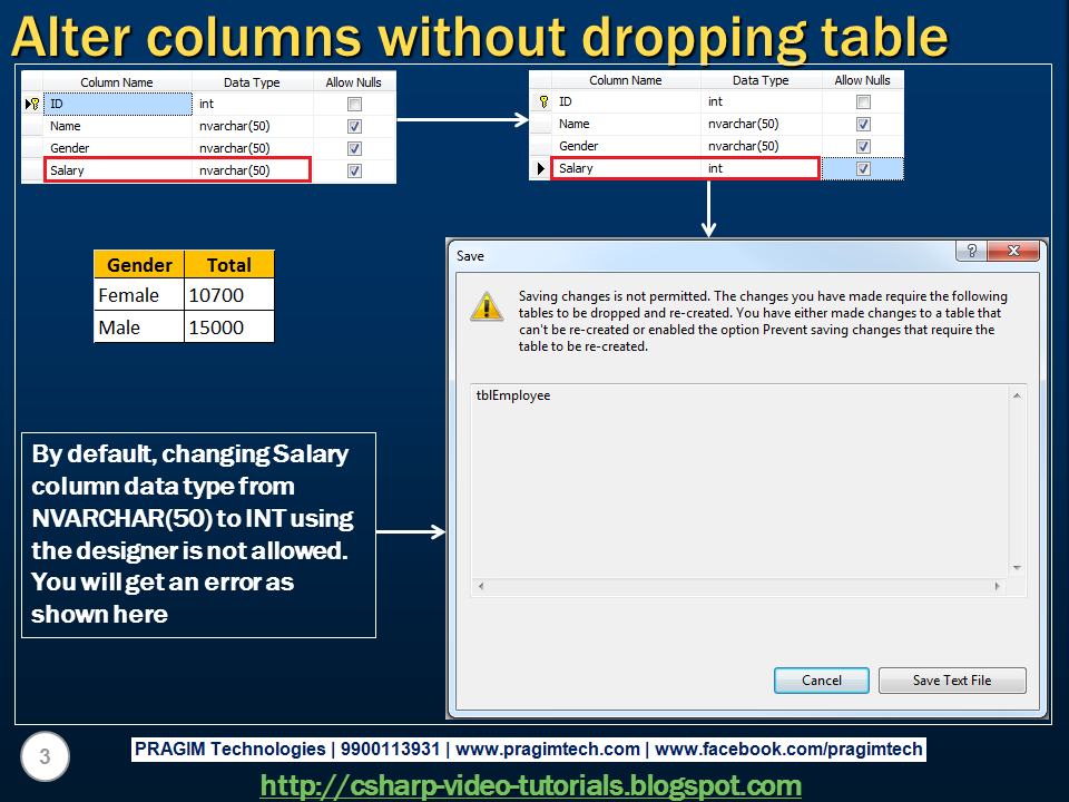 Sql server net and c video tutorial part 67 alter - Alter table sql server example ...