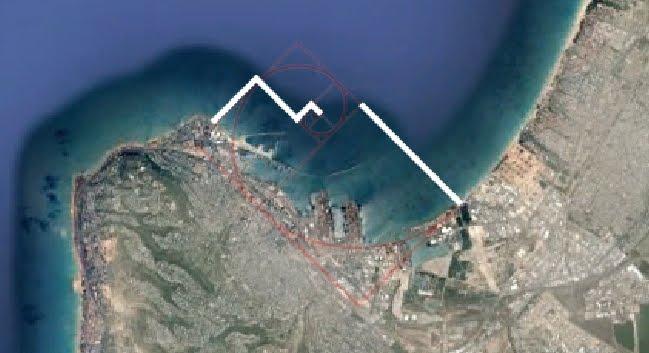 שוברי הגלים של נמל חיפה על פי ספירלת הזהב