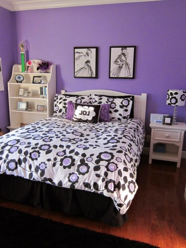 Dormitorios en morado y negro colores en casa - Dormitorio en blanco y negro ...