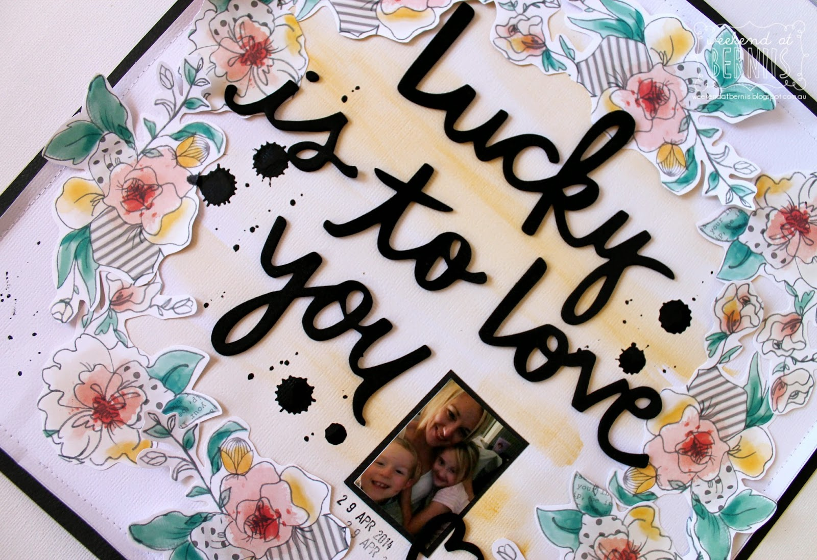 lucky is o love you layout by Bernii Miller using the Amy Tangerine Stitched collection