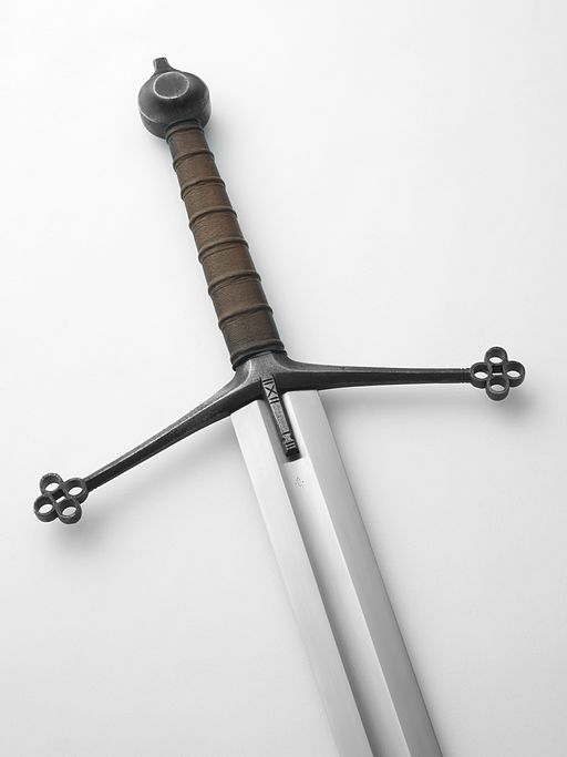 The hilt of a replica claymore
