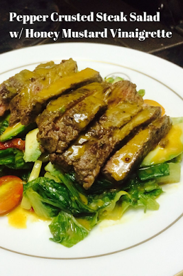 Pepper Crusted Steak Salad w/ Honey Mustard Vinaigrette