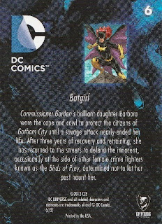 Back of New 52 DC Comics trading card #6 Batgirl