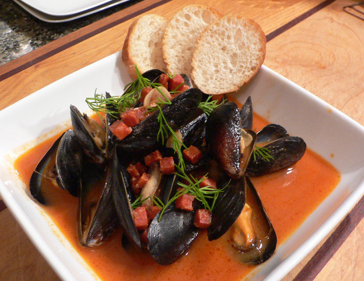 Steamed Mussels, Tomato Broth, Chorizo, Dill