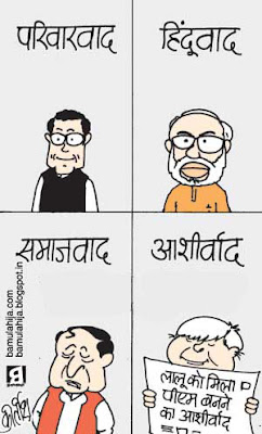 narendra modi cartoon, rahul gandhi cartoon, mulayam singh cartoon, laloo prasad yadav cartoon, election 2014 cartoons, indian political cartoon
